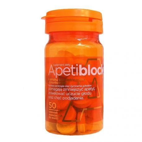 Apetiblock tabletki musujące do ssania o smaku pomarańczowo-limonkowym -50szt
