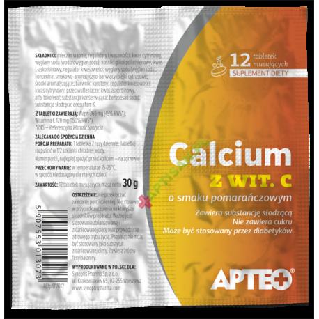 APTEO * Calcium z witaminą C w folii * smak pomarańćzowy * tabletki musujące * 12szt
