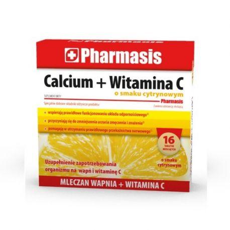 Pharmasis Calcium + Witamina C *   Smak cytrynowy * 16 tabl