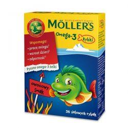 Mollers Omega-3 Rybki * żelki- smak owocowy * 36 szt