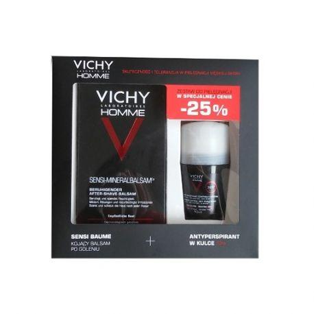 Vichy Homme - ZESTAW * kojący balsam po goleniu-75 ml *+ antyperspirant w kulce-50 ml