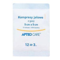 Apteo Care* kompresy gazowe jałowe 5x5 cm *1opak.- 3 sztuki
