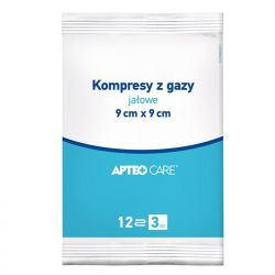 Apteo Care * kompresy gazowe jałowe 9x9 cm * 1 opak.- 3 sztuki