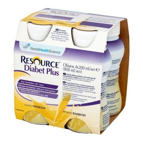 Resource Diabet Plus * płyn o smaku waniliowym *4 X 200 ml